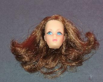 1960s Vintage Mattel Marlo Flip Barbie Doll Head Auburn or Brown Red Twist N Turn