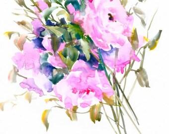 Pink Roses, 14 X 11 in, original watercolor painting