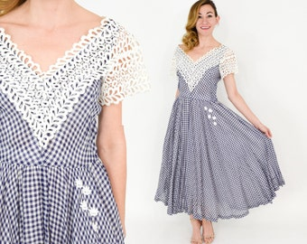 40s Gingham Dress | Blue & Lace Full Skirt Party Dress | Colleen Originals | Small