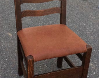 Arts and crafts side chair, hard leather seat, Stickley Brothers ?