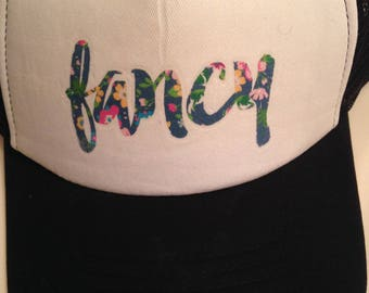 Black and white floral fancy trucker hat