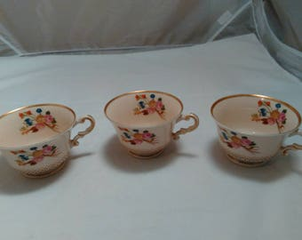 Vintage Set of 3 floral Porcelain cups by Old Ivory Syracuse China Made in USA