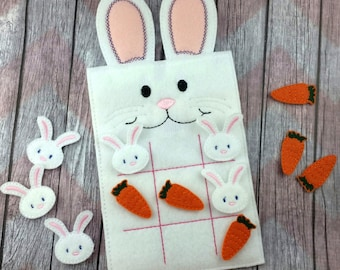 Bunny with ears Felt Tic Tac Toe Board, Easter/Spring game, Quiet game, Wonderland white rabbit