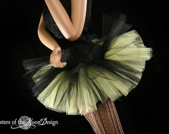 Peek a boo micro mini tutu skirt black and yellow Adult bee costume halloween gogo dance roller durby  -You choose Size- Sisters of the Moon
