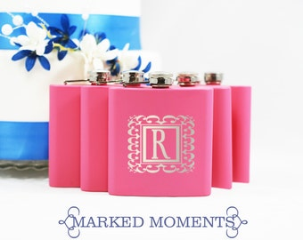 21st Birthday Gift Engraved Pink Flask 6oz Personalized with Single Initial 19th Birthday 18th Birthday - ROYAL FRAME design