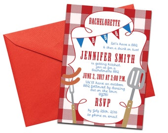 Printed, BBQ Themed Bachelorette Invites with Envelopes | Hen Party Printed Invites | Red and White Picnic