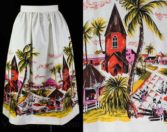 Size 12 1950s Vintage Novelty Print Fabric Skirt - Large - Pink & Orange Shop Scenes - 50s 60s Downtown - Sun Time by Millworth - 45713-1