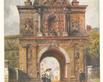 Artist-Signed Citadel Gate, Plymouth, England Postcard, c. 1910