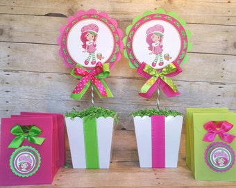 Strawberry Shortcake Inspired Centerpiece Strawberry Shortcake party favor (This price is for a single Centerpiece)