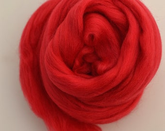 SCARLET RED - Merino Wool Roving 1/4oz,  1/2oz or 1oz