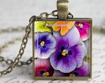 Colorful Pansies Pendant, Necklace or Key Chain - Choice of Silver, Bronze, Copper or Black