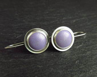 Purple enamel and sterling silver earrings for women, cabochon style dangles with hook earwires and oxidized finish, ladies jewelry gift