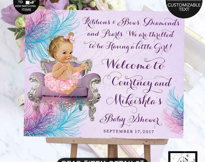 Turquoise purple and pink welcome sign baby shower lavender printable poster sign ribbons bows diamonds pearls. DIY Digital FILE ONLY!