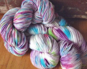 Bowl of Petunias - 13% off - NEW hand dyed superwash Merino super soft wool blend sock yarn 462 yards 100 grams