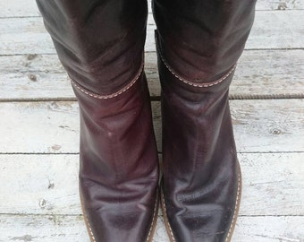 Vintage boots of high heels real leather in Braun Gr 39 slouch 80 hippie boho style