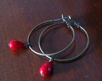 Bayas De Otoño Berries Antique Bronze Hoop Earring
