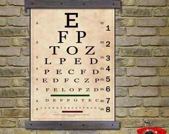 """Vintage Eye Chart. Snellen Eye Chart. Sized at 24""""w x 36""""h. Antique Eye Chart"""