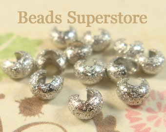 4 mm Platinum-Plated Brass Stardust Crimp Bead Cover - Nickel Free and Lead Free - 50 pcs