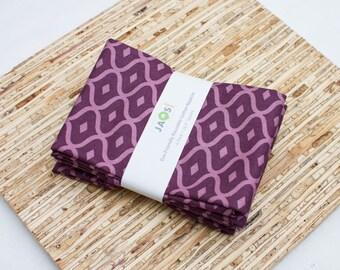 Large Cloth Napkins - Set of 4 - (N2646) - Purple Geometric Ogee Modern Reusable Fabric Napkins