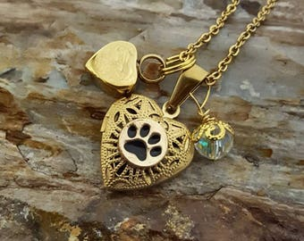 drop w small glass locket market paw lockets etsy il memorial stainless pet print steel