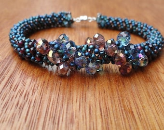 Summer Skies Garnet, Crystal, and Woven Bead Russian Spiral Bracelet