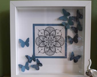 Pen and ink prints in a box frame with butterfly decoration