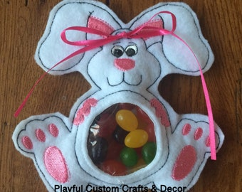 White Bunny Candy Treat Bag/Easter