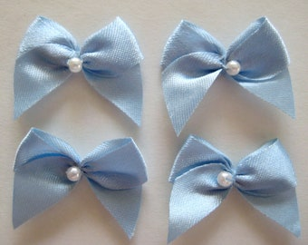 "Blue Satin Ribbon Bows  with Pearl Center for Crafting, Sewing, Doll Shoes, Wedding Favors ""Something Blue..."" , 1 inch / 25 mm"