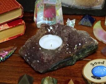 Amethyst - Light Amethyst Cluster Candle Holder (RK513B3-05)