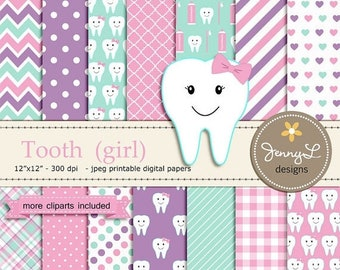 50% OFF Tooth Girl Digital Paper and Clipart SET, Dental Care, Teeth, Toothpaste, Toothbrush for Baby Shower, Birthday  and Scrapbooking Pap