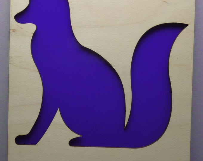 Fox of Plywood and Recycled Aluminum in Purple