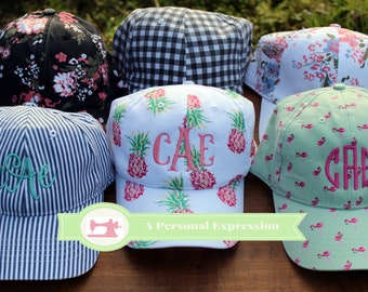 Monogrammed Cap, Floral, Pineapple, Flamingo, Gingham, Stripe, Personalized, Spring, Summer, Beach Hat, Pool Hat, Bad Hair Day Hat