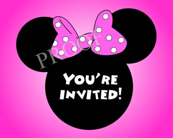 Minnie Party Invitations-- 5x7 Digital