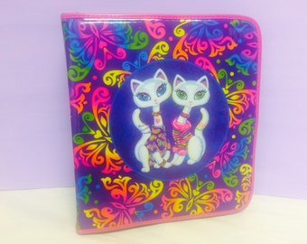 Vintage Lisa Frank, 3 Ring Zipper Binder, Cat B inder, Roxie and Rollie, LF Collectible, Cute 1990s Binder, School Supplies,Back To School