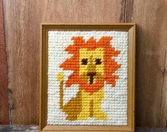 Vintage Needlepoint Lion Baby Nursery Playroom Wall Décor // Yarn Craft Handicraft // Zoo Circus