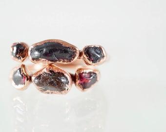 Raw Garnet and Copper Triple Stone Ring