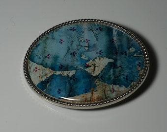 Handmade Belt Buckle Vintage Blue Patterned Floral