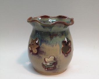Pine Green Candle Lantern , Handmade Pottery
