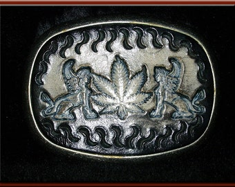 "GREEK SPHINX and HEMP Leaf Design, Handcrafted, Hand Tooled Leather Belt Buckle • Fits up to 1 3/4"" Wide Belt,  2 1/2"" High X 3 1/4"" Long •"