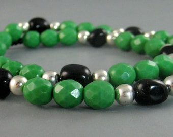 Native American mens beaded necklace, Green, black, silver necklace, fashion jewelry for men, Green Faceted Beads with Silver and Black Onyx
