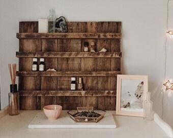 Essential Oil Storage// Reclaimed Wood// Essential Oil Shelf Organizer// Pallet Wood Shelf// Pallet Art// Reclaimed Wood Shelf
