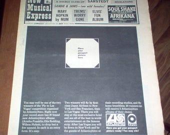 NME New Musical Express Magazine 1969 John Lennon Janis Joplin Jimi Hendrix UK Vintage Classic Rock & Roll Music Collectible