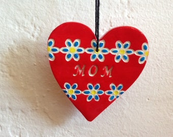 MOM - red heart polymer clay ornament - Mother's Day gift