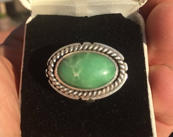 Variscite ring, silver ring, green stone ring,