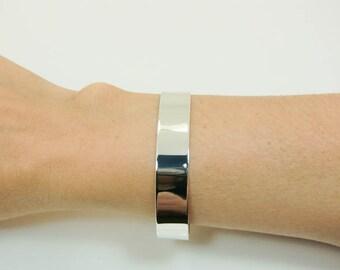 Sterling Silver Cuff - Silver Cuff Bracelet - Wide Silver Cuff - Wide Plain Sterling Cuff - Mens or Womens Silver Cuff - Silver Bracelet