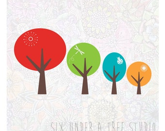Four Trees Wall Vinyl Decals Art Graphics Stickers