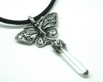 Butterfly Pendant Crystal Point Necklace Cast in Fine Pewter and sterling silver capped quartz crystal.