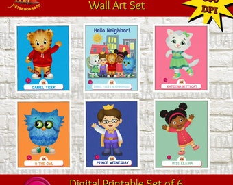 Daniel Tiger Wall Art  Prints, Daniel Tiger Wall Art Set, Daniel Tiger Printable, Daniel Tiger Poster, Daniel Tiger Nursery Set, Kids Room