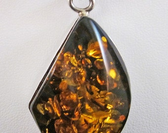 Baltic Amber Necklace, Large Fiery Pendant, Sterling Silver, Jewelry, Liquid Sunshine, Golden