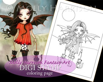 Child of Halloween - Digital Stamp - Printable - Halloween Vampire and Cats - Fantasy Art - Digi stamp Coloring Page JPG - 8.5 x 11